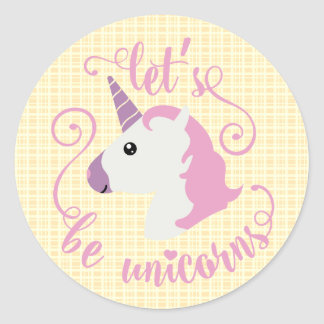 Let's Be Unicorns Yellow Plaid Stickers