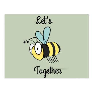 Let's bee together postcard