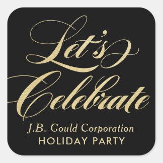 Let's Celebrate | Elegant Gold Script Square Sticker