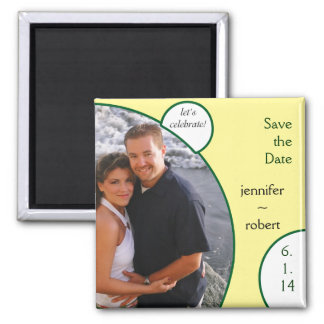 Lets Celebrate in Yellow and Green Save the Date Magnets