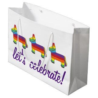 Let's Celebrate! Rainbow Donkey Birthday Piñata Large Gift Bag