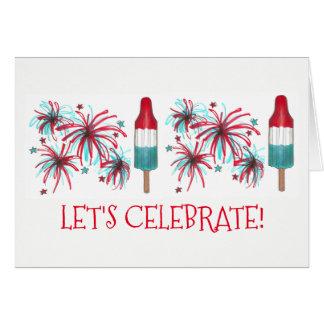 Let's Celebrate Rocket Pop Popsicle USA Fireworks Card