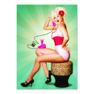 Let's Chat Retro Pin-Up Party Invitation