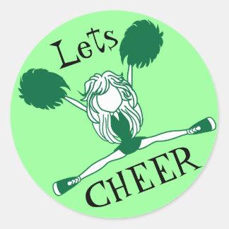 Lets Cheer Green Cheerleader Classic Round Sticker