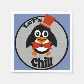 Let's Chill Cute Penguin Cocktail Napkins Paper Napkin