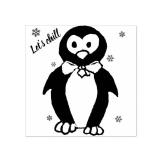 Let's chill - stamp with penguin motive