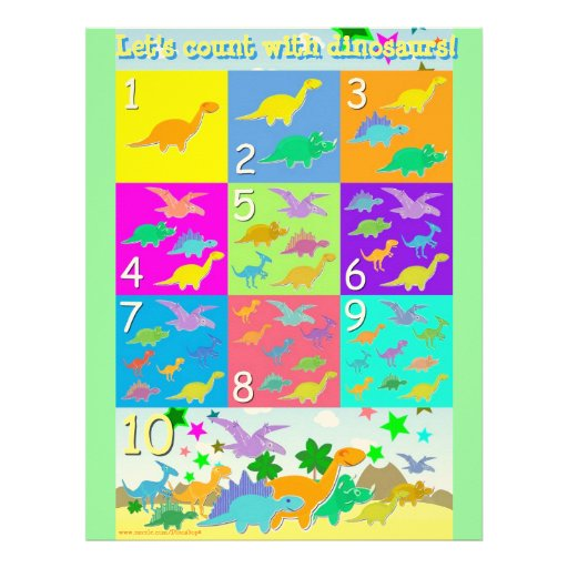 Let's Count Dinosaurs Numbers Learning Worksheet Letterhead Template ...