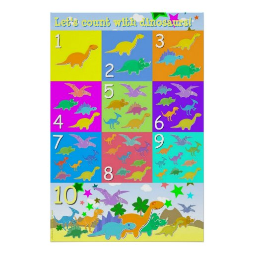 Let's Count With Dinosaurs Numbers 1 - 10 Counting Print