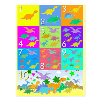 Let's Count With Dinosaurs Numbers 1 to 10 Postcard