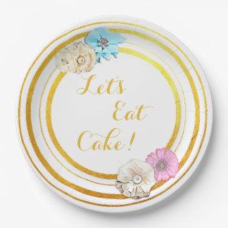 Let's Eat Cake Pink & Blue Floral  Paper Plates