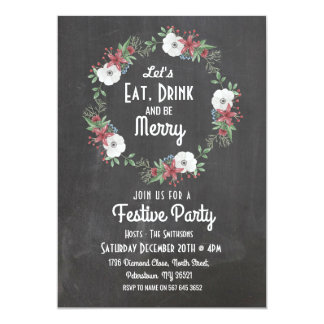Let's Eat Drink & Be Merry Christmas Chalk Invite