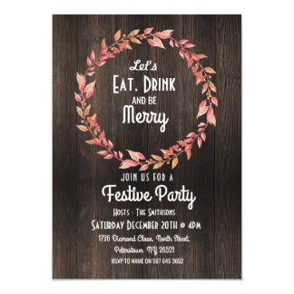 Let's Eat Drink & Be Merry Christmas Wood Invite