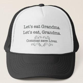 Let's eat grandma, commas save lives trucker hat