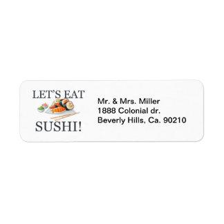 Let's Eat Sushi Return Address Label