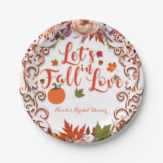 Let's Fall In Love Autumn Floral BRIDAL SHOWER Paper Plate