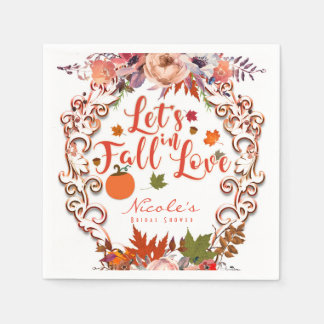 Let's Fall In Love Autumn Floral Wedding Paper Napkin