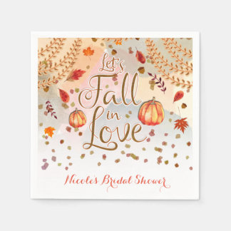 Let's Fall in Love Bridal Shower Autumn Leaves Napkin