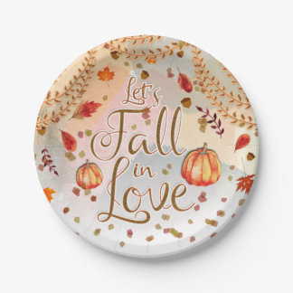 Let's Fall in Love Bridal Shower Autumn Leaves Paper Plate