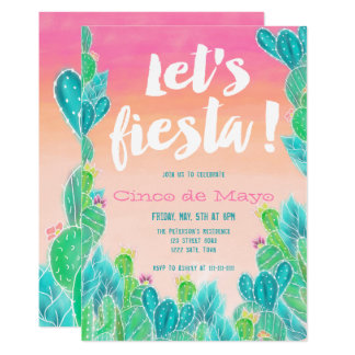 Lets fiesta Cacti pattern watercolor Cinco de mayo Card