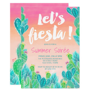 Lets fiesta Cacti pattern watercolor summer party Card