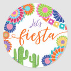 Let's fiesta favour tag Sticker Mexican Cactus