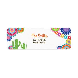 Let's Fiesta Mexican Return Address Label Cactus