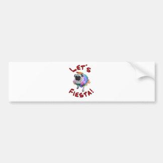 Let's Fiesta Pug Bumper Sticker