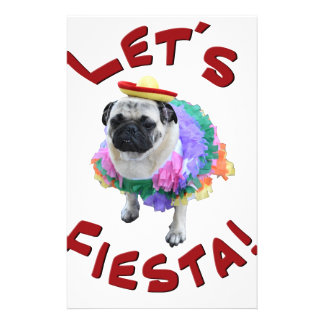 Lets Fiesta Pug Stationery