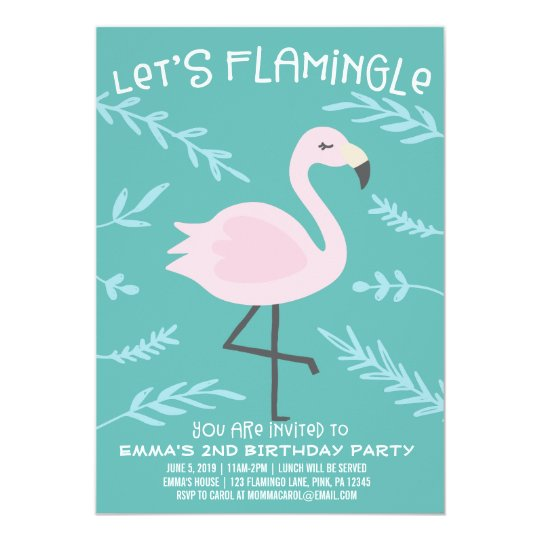Let's Flamingle Cute Flamingo Pastel Invitation