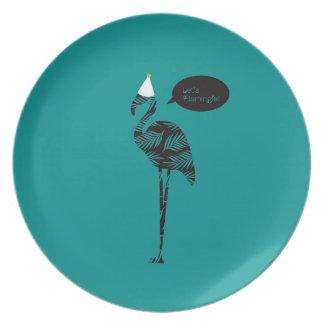 Let's Flamingle! Melamine Plate