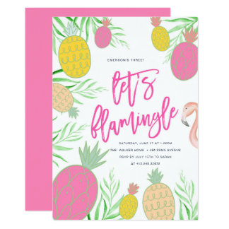 Let's Flamingle Pineapple Birthday Party Card