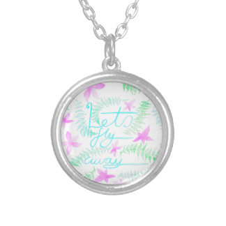 Lets fly away silver plated necklace