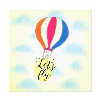 """""""Let's fly"""" design with hot air-balloon Canvas Print"""