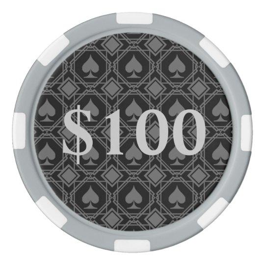 Let's Gamble Spades Poker Chips, Grey Striped Set Of Poker Chips