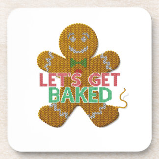 Let's Get Baked Gingerbread Man ugly christmas Coaster