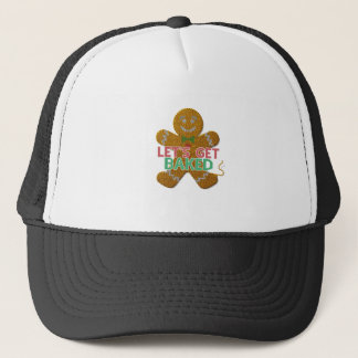 Let's Get Baked Gingerbread Man ugly christmas Trucker Hat