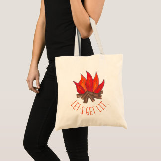 Let's Get Lit Campfire Fire Flames Funny Camping Tote Bag