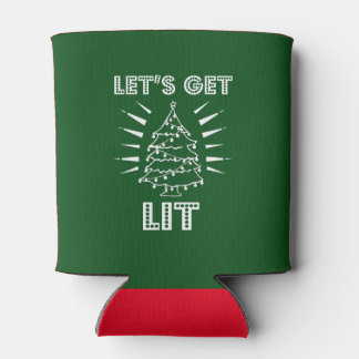 Let's get lit funny saying christmas shirt can cooler