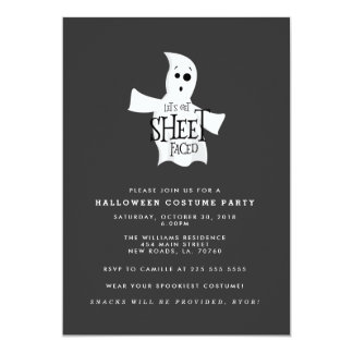 Let's Get Sheet Faced Halloween Costume Party Card
