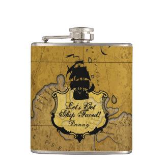 Let's Get Ship Faced, Funny Vintage Style Hip Flask