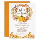 Let's Give Thanks PumpkinThanksgiving Dinner Card