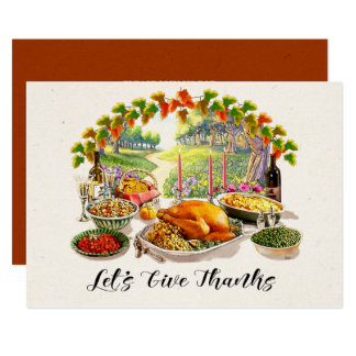 Let's Give Thanks. Thanksgiving Dinner Invitations