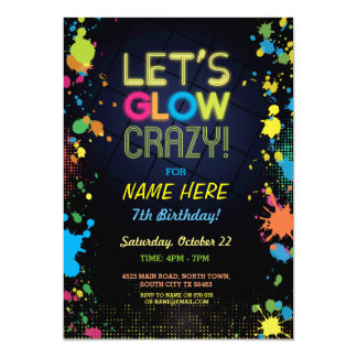 Let's Glow Crazy Birthday Neon Paint Invitation