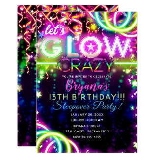 Let's GLOW Crazy Neon Colorful Birthday Party Card