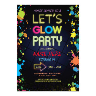 LET'S GLOW INVITE NEON PAINT KIDS BIRTHDAY PARTY