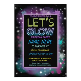 LET'S GLOW INVITE NEON PAINT KIDS BIRTHDAY PARTY