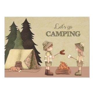 Let's Go Camping - campers, campfire, tent Card