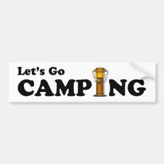 Let's Go Camping Lantern Bumper Sticker