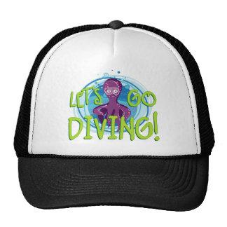 let's go diving octopus trucker hat
