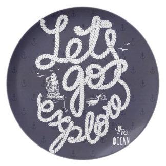 Let's_go explore plate